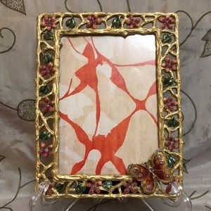 Pretty Floral and Butterfly Enamel Picture Frame